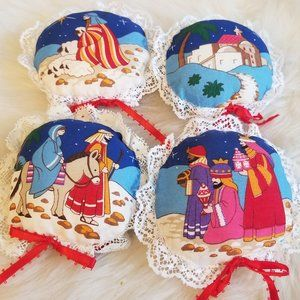 4 Handmade Christmas Miniature Pillows Vintage